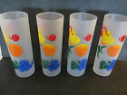 Federal Glass set of 4 Frosted grapes pear orange cherries Tumblers Tom Retro