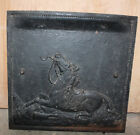 ANTIQUE CAST IRON SUMMER FIREPLACE COVER HORSE IN WAR SCENE