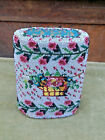 ANTIQUE VICTORIAN GLASS MICRO BEADS WOODEN TREEN SEWING ETUI CASE BOX ROSES DUCK