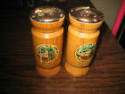 2 WOODEN SALT  PEPPER SHAKERS HEARST HISTORICAL MONUMENT with Top Metal Slides