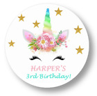 30 Personalized Unicorn Birthday Party Stickers favors lollipop labels tags
