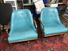 Vintage, Mid Century, Modern Pair Of Turquise Chairs