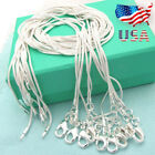 Lots 10PCS Sterling Silver Plated 1mm Snake Chain Necklace Size 16 28 US 9 2 5