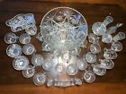 Early American Prescut Anchor Hocking Punch Bowl Set Star of David 43 Piece Set