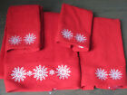 CASABA Red w/White Applique Snowflakes 4pc Christmas Towels SET Bath/Hand/Finger