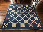 Early Antique Indigo Blue Calico Hand Sewn Quilt Textile 9 Patch AAFA