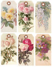 SET OF 12 15X325 FLORAL ROSES 04 GIFT HANG TAGS SCRAPBOOK CARDS