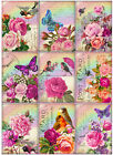 SET OF 9 25X35 FLORAL BIRDS BUTTERFLY 34 GIFT HANG TAGS SCRAPBOOK CARDS