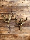 2 Mid Century Victorian Ornate Brass Wall Sconce Light Lamp Fixtures Candelabra