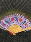 Antique? Export Hand Fan VINTAGE CHINESE PEACOCK FEATHERS HAND PAINTED No.1