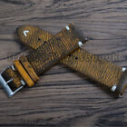 18 20 22 24mm Men's Vintage Leather Watch Strap Ss Buckle Band With Spring Bar