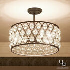 Luxury Crystal Semi-Flush Ceiling Light, 11.75'H X 16'W, With Moroccan Style,