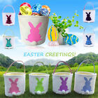 Easter Egg Basket Holiday Cute Rabbit Bunny Printed Canvas Gift Carry Candy Bag