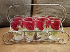Vintage floral rose pattern juice glasses with caddy and decanter carafe