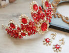 Red Crystal Baroque Vintage Queen Tiara Crown Bridal Prom Wedding Hair Jewelry