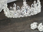 Clear Crystal Baroque Vintage Queen Tiara Crown Bridal Prom Wedding Hair Jewelry