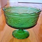 VTG Green Heavy Glass E.O. Brody Co. M6000 Pedestal Compote Candy Fruit Bowl