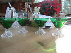 Vintage Anchor Hocking Green Bubble Foot Glasses (4)
