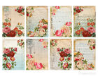 SET OF 8 25X35 FLORAL POSTCARD ROSES 49 GIFT HANG TAGS SCRAPBOOK CARDS