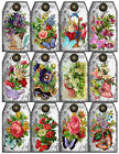 SET OF 12 2X325 FLORAL BUTTERFLY SPRING 70 GIFT HANG TAGS SCRAPBOOK CARDS