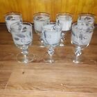 Set of 7 Vtg Libby Frosted Wheat Pattern Water Goblets
