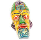 Tribal Mask Multicolor Handcrafted Wood Sculpture Wall Art Home Decor Accent