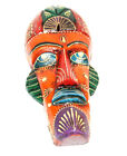 Tribal Mask Multicolor Handcrafted Wood Sculpture Wall Art Home Decor Accent MA