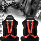 Universal New Jdm Tow 4 Point Safety Harness Camlock 2 Inch Strap Seat Belt Red