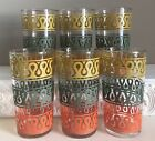 Mid Century Modern Iced Tea Highball Tumblers Glasses Teardrop Abstract Tiki