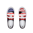 Women Lace Up Flats Flag Stars and Strips Print Casual Sneakers Low Top Shoes