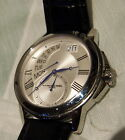 RAYMOND WEIL GENEVE DAY DTAE ANALOG SILVER DIAL ORIGINAL LEATHER BAND