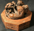Antique Carved Chinese Boxwood Foo Dogs Aprox. 3.25 wide x 2.25 tall (inches)