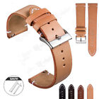 Retro Hand-Stitching Men's Leather Watch Band Quick Release Strap 18 20 22 24mm