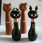 SALE LOTTALL WOOD CATS Salt and Pepper Shakers 2 sets of wood cat shakers
