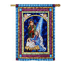 Stained Glass Nativity Impressions Decorative House Flag H114123 BO