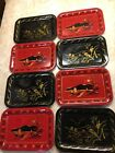 8 Vintage Toleware Metal Small Trays Asian Black Red Snack Trays Lot 6.5 x 4.5