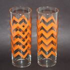 2 VINTAGE LIBBEY MID CENTURY TALL SKINNY DRINKING GLASSES TUMBLERS ORANGE WAVES