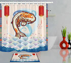 Koi Carp Fish Polyester Fabric Waterproof Shower Curtain Hook Bath Accessory Set