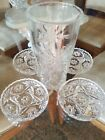 Early American Press Cut EAPC Star of David Iced Tea Tumbler and 4 Coasters