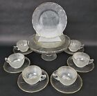 18 Pc Mid Century Jeannette Glass Co Crystal Gold Trim Harp Dessert Serving Set
