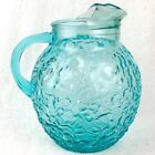 Vtg Anchor Hocking :TURQUOISE: Glass Pitcher Lido Milano Round Aqua 96oz Blue