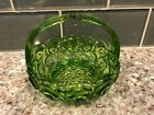 Vintage Green Glass Moon Stars Candy Dish with Handle Flat Bottom