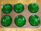 6 Vintage Hobnail Glass Footed Bowls Emerald Green Candy Dishes