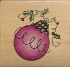 Wood Mounted Christmas Rubber Stamp Large Christmas Ornament