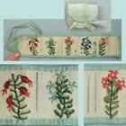 Antique Embroidered Silk Sewing / Needle Roll * English * Circa 1870