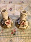 Two Vintage Cordey  Porcelain Candlesticks - Free Shipping