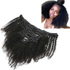 Mongolian Afro Kinky Curly Hair Clip in Remy Human Hair Extensions 8pcs 120g US