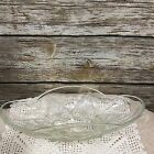 EAPC Clear Glass Scallop Bowl With Raised Leaf Pattern Pressed Glass Scallop Bow