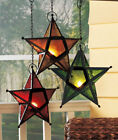 Hanging Star Tea Light Candle holder 5 Pointed Gold Green Red Stained Glass Look