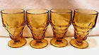 4 pc. GEORGIAN HONEYCOMB FOOTED AMBER WATER GLASSES 5 1/2